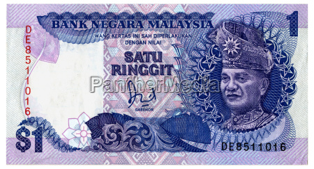 malaysian one dollar note close up