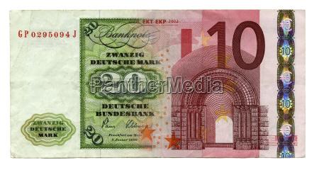 deutsche banknoten d mark und euro