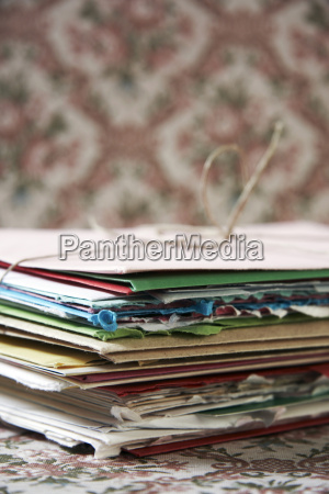 stack of paper close up