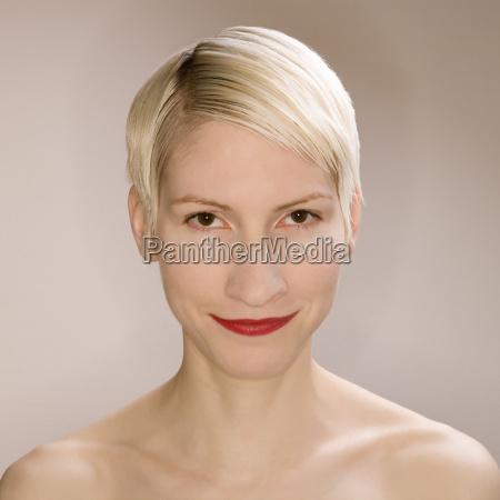 blonde woman portrait close up