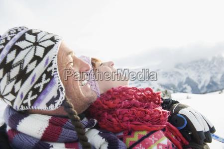 italy south tyrol seiseralm couple sunbathing