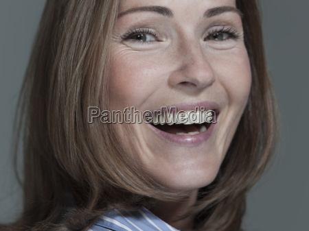 woman laughing portrait close up