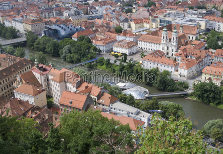 austria styria graz elevated view of