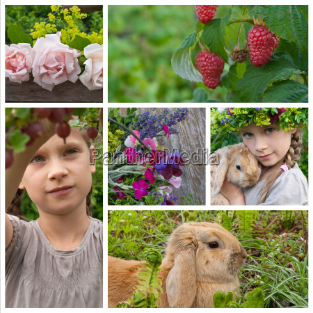 collage with young girl in garden