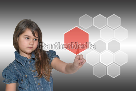 little girl and transparent red pentagon