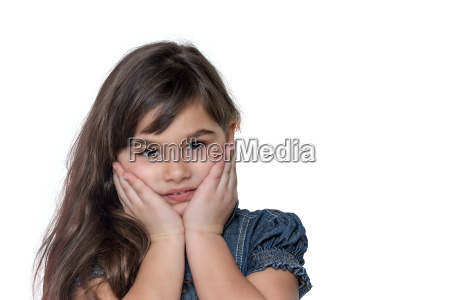 portrait of tanned little girl isolated