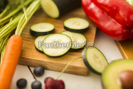 close up of zucchini slices on