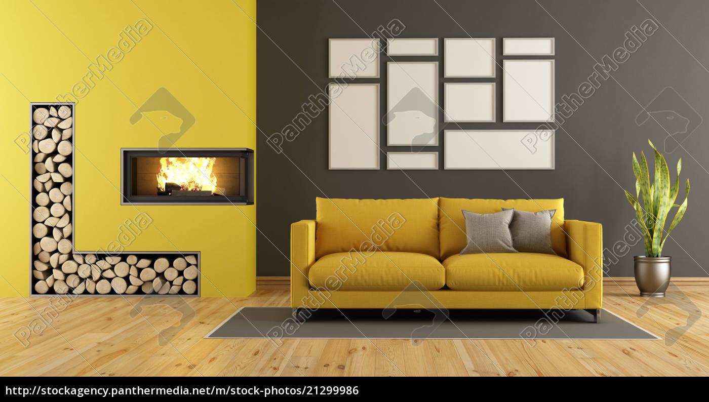 Stock Bild 15 - schwarzes und gelbes wohnzimmer mit kamin