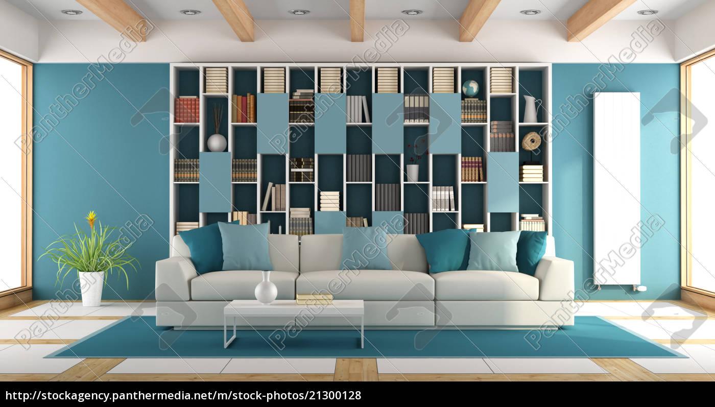 Relativ weißes und blaues großes wohnzimmer - Lizenzfreies Foto OV68