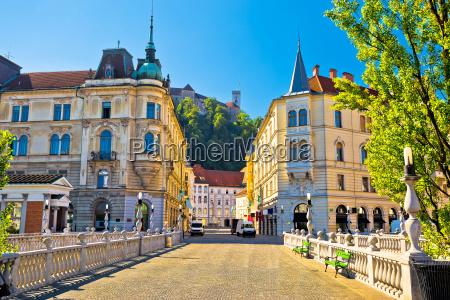 city of ljubljana view from tromostovje