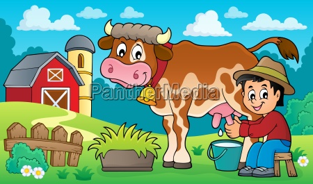 farmer milking cow image 3