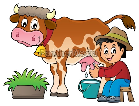 farmer milking cow image 1