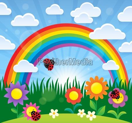 frühlingsthema, mit, blumen, und, regenbogen - 21304686