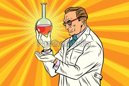 laborflasche wissenschaftler chemiker analysiert