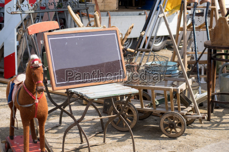 flea market stall with old