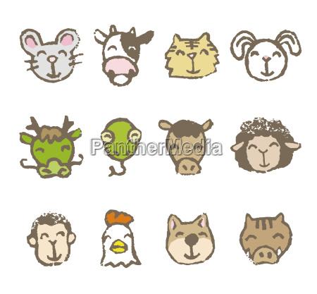 twelve chinese zodiac animals