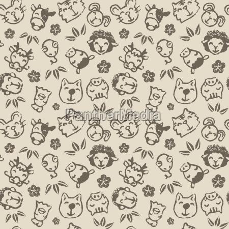chinese zodiac animal seamless pattern