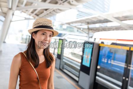 young woman go bangkok city