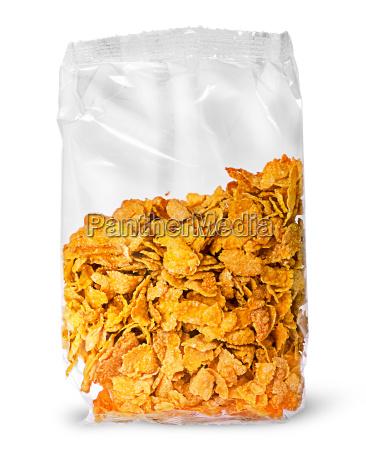 versiegeltes paket von cornflakes vertikal