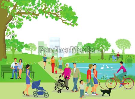 menschen erholen sich im park