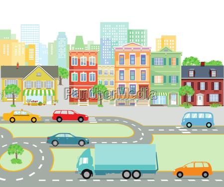 strassenverkehr in der stadt transport illustration