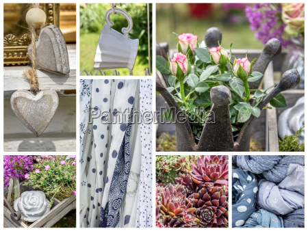 collage with garden decoration and fabrics
