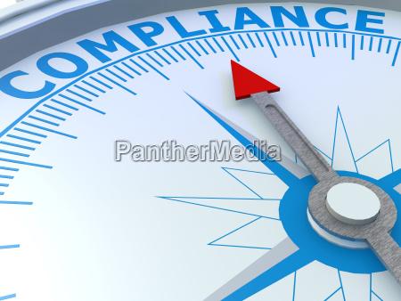 compliance wort auf kompass isoliert