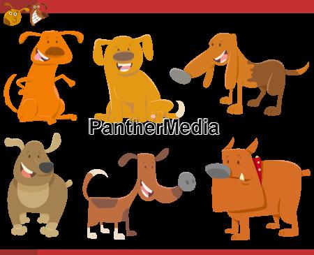 cute dog animals set
