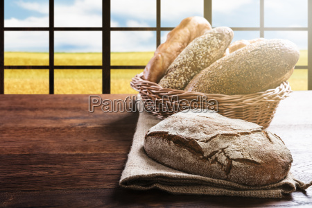variety of bread in the basket