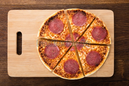 slices of homemade salami pizza