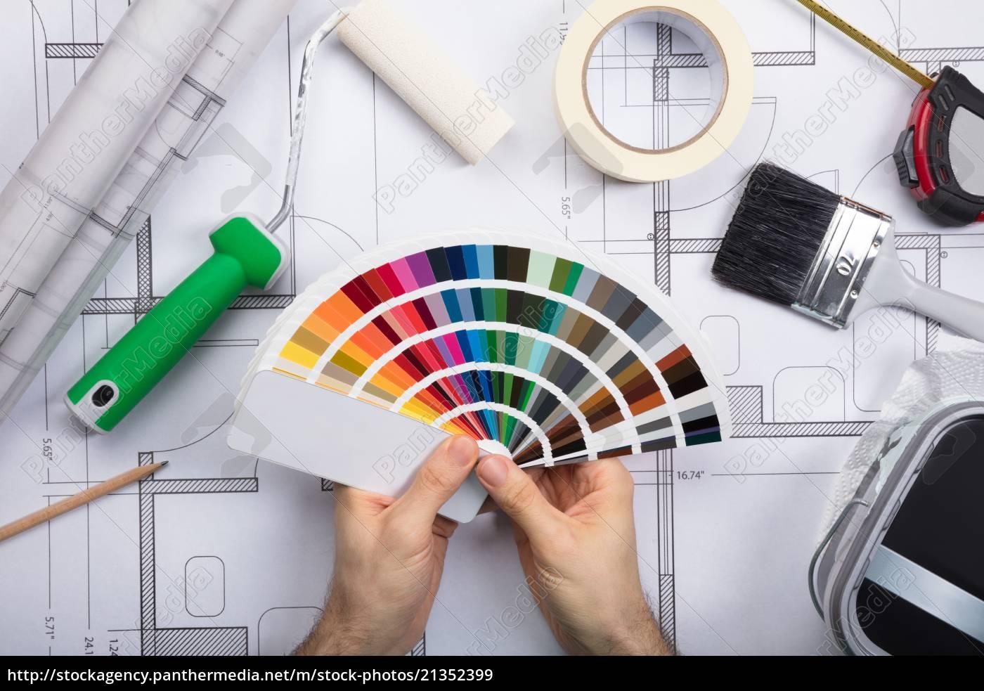 ein, architekt, holding, color, guide, swatch - 21352399