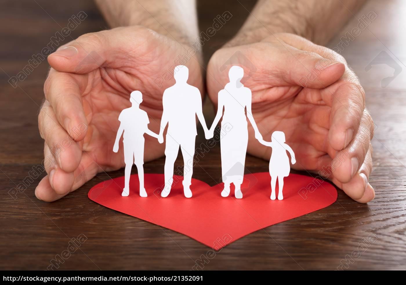 person, hand, schutz, familie, papier, schnitt - 21352091