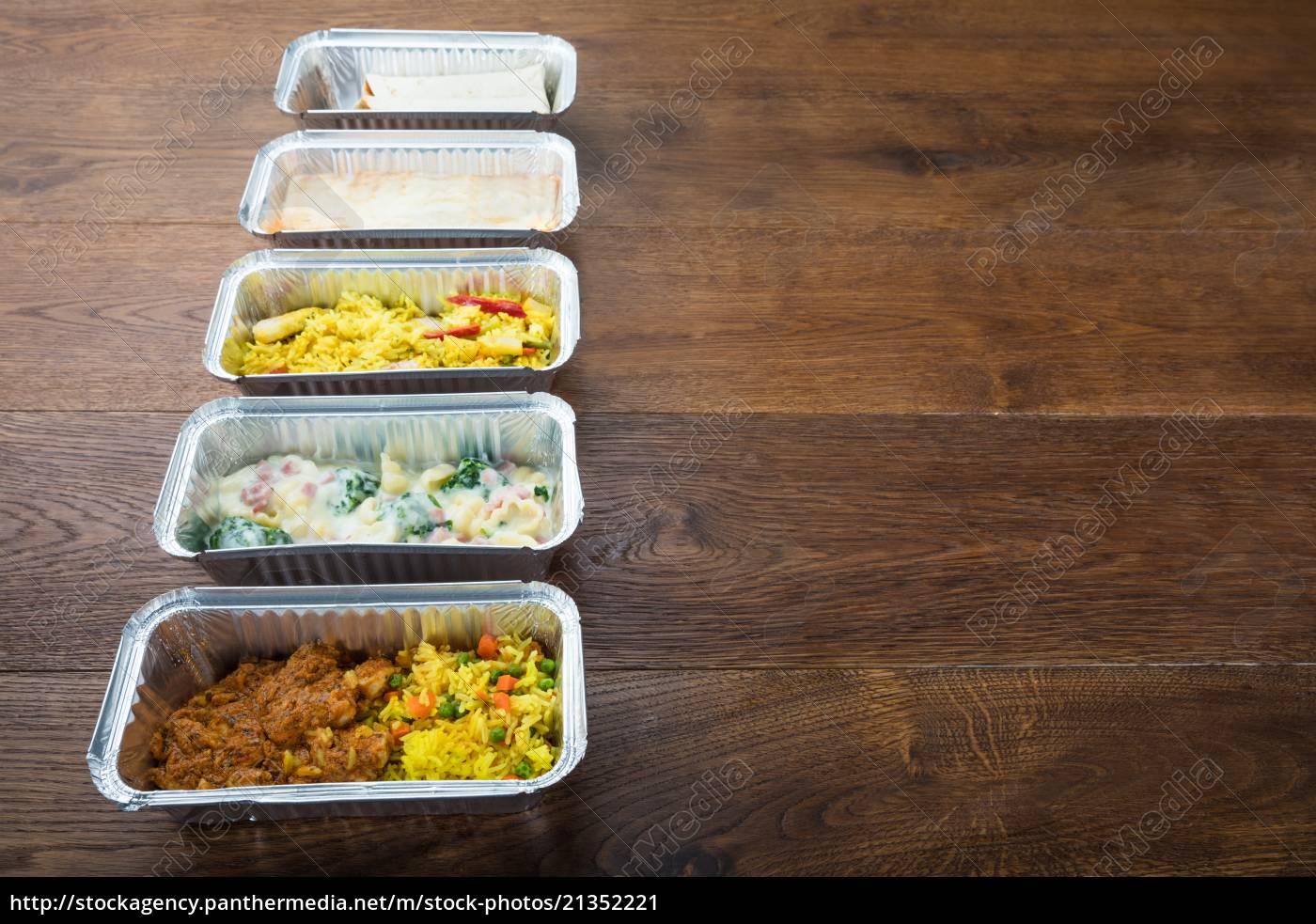 reihe, von, take, away, dishes, auf - 21352221