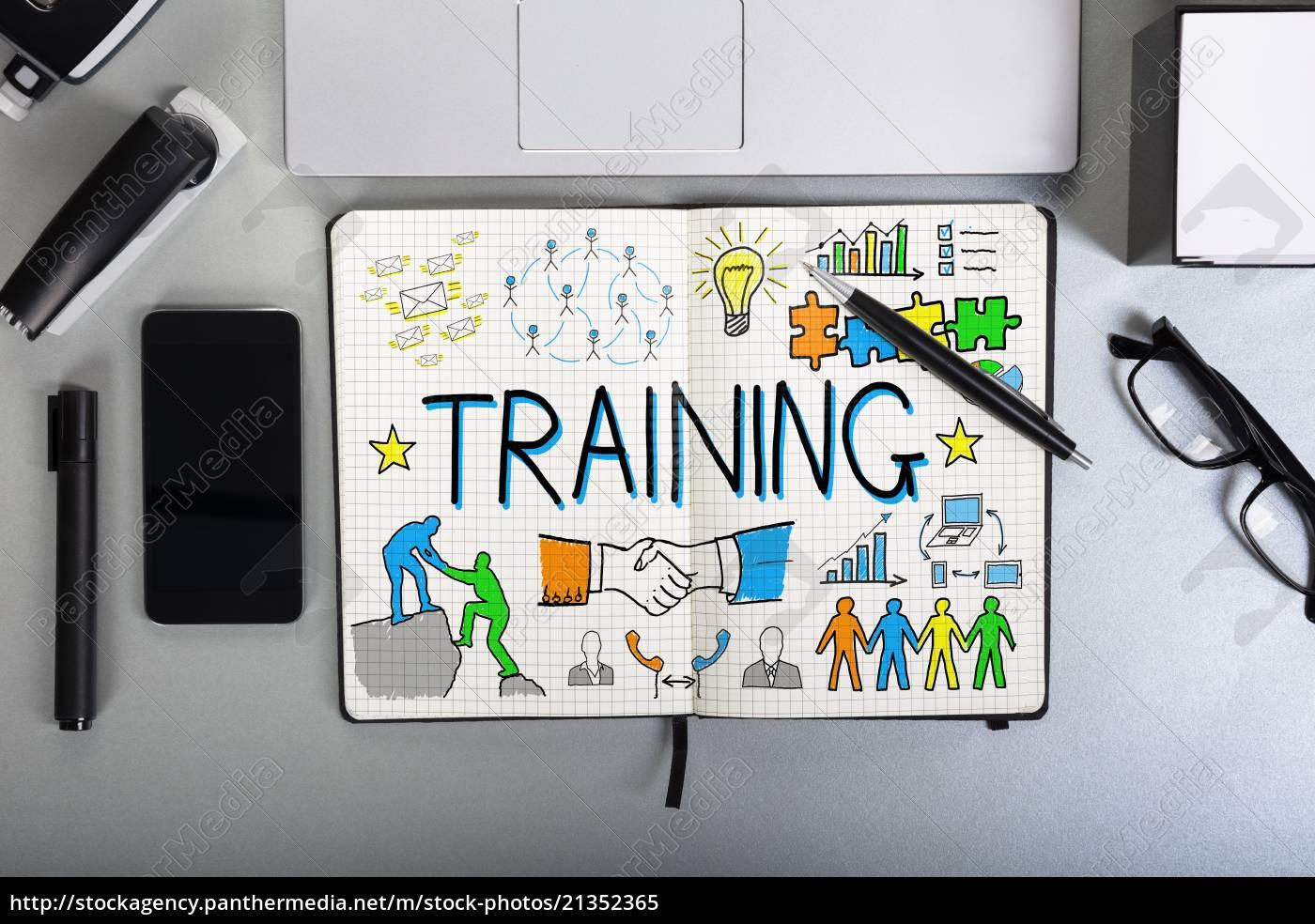 trainings-chart, auf, notebook - 21352365