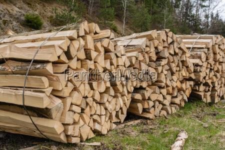gebuendeltes brennholz umweltfreundliche energie