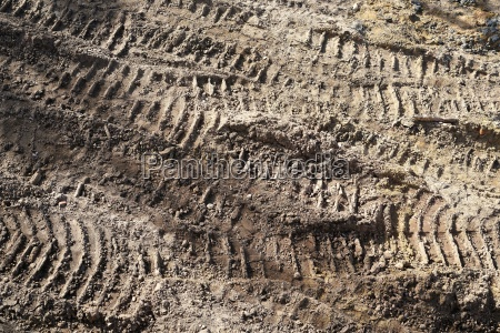 tire traces of construction vehicles on