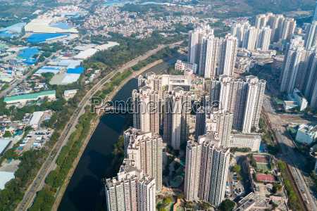 top view of cityscape in hong