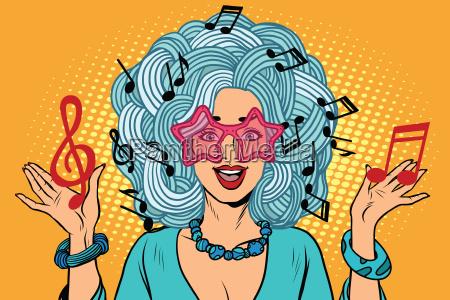 junge frau musik noten statt frisuren