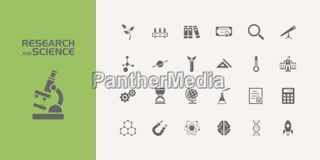 wissenschaft forschung chemie ikone garnitur vektor