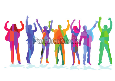 happy people celebrate in the group
