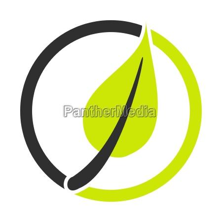 blatt symbol mit kreis gruen schwarz