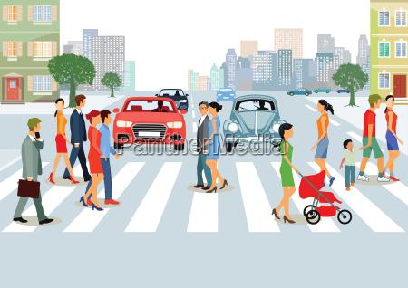 staedtische gemeinde mit personen und autoverkehr
