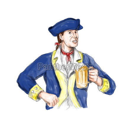 american patriot holding beer mug toast