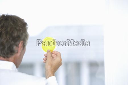 scientist examining yellow petri dish