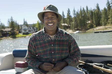 happy man on a fishing trip