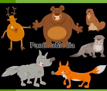 happy wild animal characters set