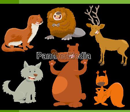funny wild animal characters set
