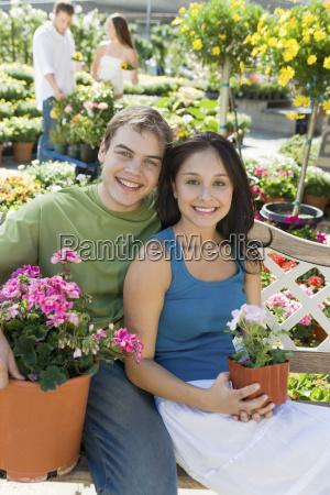 happy couple at botanical garden