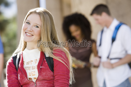 happy young female student