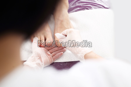 pedicure beautiful healthy nails woman in